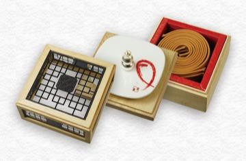 白檀古邦4H盤香花窗三層盒